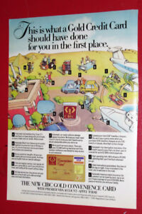 1989 CIBC CONVENIENCE BANK CARD RETRO AD + LABATT BEER GOLF CLUB