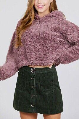 Womens Crop Pullover Sweatshirt Fur Hoodie Sweater Jumper Loose Hooded Top USA