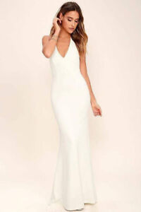 Lulus Ivory Lace Halter Dress