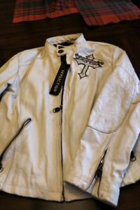 Mens L/E Affiction white leather jacket / coat must see!