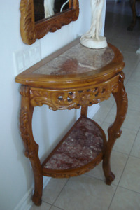 Hall /Front entrance table with mirror. Light oak color