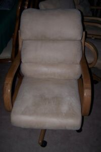 2 Large Oak and Beige Swivel and Recline Chairs