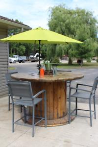 Outdoor Wooden Spool Patio Table