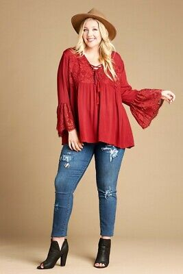 Oddi Plus Size Burgundy Lace Up Front Baby Doll Top IT12217P
