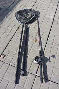 Canne à pêche lancer lourd, moulinet et épuisette