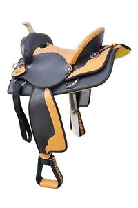 2 New Western Black & Tan Synthetic leather Saddles