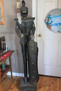 """63"""" tall tin Medieval Knight Statue"""