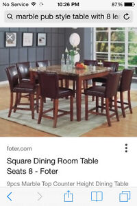 Pub Height Marble Table with 8 leather chairs