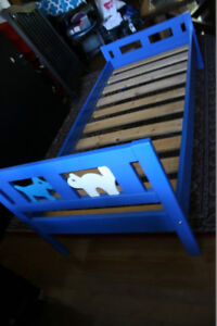 Solid Twin size IKEA kids bed frame in good condition.