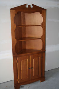 Country Charm Solid Maple Corner Cabinet