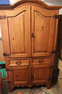 Rustic Armoire/tv stand, two side tables