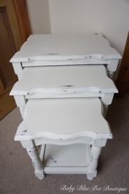 Vintage White Nest of Tables Shabby Chic Scalloped