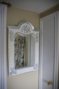 FRENCH COUNTRY LOOK MIRROR WHITE WITH SILVER TRIM