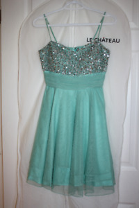 Le Chateau Aquamarine Sequined Prom Dress