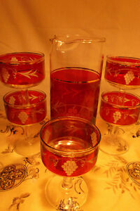 Red/Gold Cocktail & Liqueur Sets REDUCED