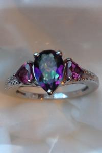 New-Northern Light Mystic Topaz & Rhodolite Garnet Ring