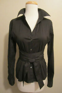THEORY Black Button Down Shirt With Tie Waist (XS/P)