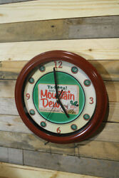 Vintage Mountain Dew Soda Cola Wall Clock Large 13 inch Silent Sweep Hand Glass