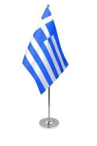 """GREECE DELUXE SATIN TABLE FLAG 9""""X6"""" CHROME POLE & BASE Stands 15"""" GREEK"""