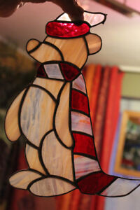 Stained glass holiday Bear hanging.