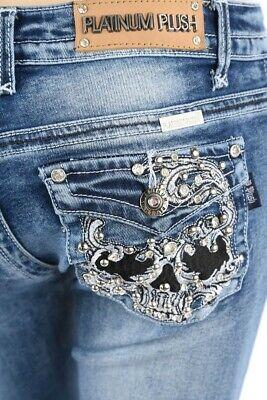 Platinum Plush Blk Skull Denim Blue Biker Boot Cut Jeans Sz (Boot Jeans Denim)