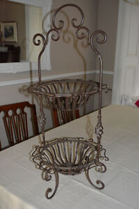2 Tier Metal Baskets with Handle
