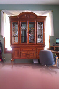 Solid cherry wood buffet and hutch