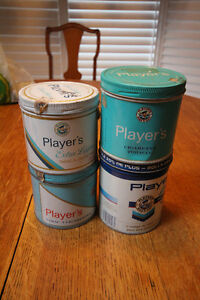 4 VINTAGE PLAYERS CIGARETTE TOBACCO TINS