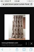 Brown floral curtain 4 panels and pillows