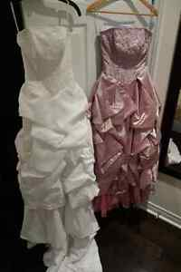 2 Wedding Dresses - White & Purple with 1 frame (2 for $700)