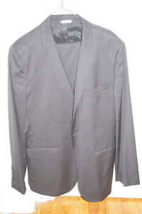 Men's DOLCE&GABBANA 52 / 42R Luxury Pinstripe Wool Black Suit