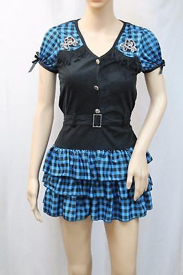 mens Giddy Up Cowgirl Size S Dress Blue Black (Cowgirl Halloween-kostüm)