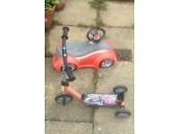 Cars 3 wheel scooter £3 small ride on car £3