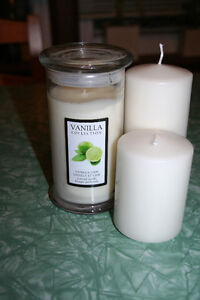 NEW Two white pillar Candles PLUS one glass jar scented candle Kitchener / Waterloo Kitchener Area image 3