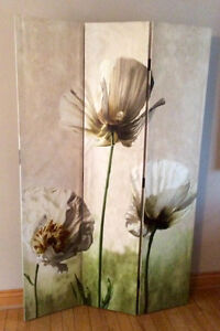 3 Panel Room Divider, Different Pattern  On Each Side-St. Thomas