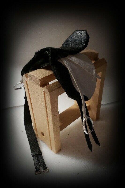Traditional CM Ooak Breyer English Saddle Black and White