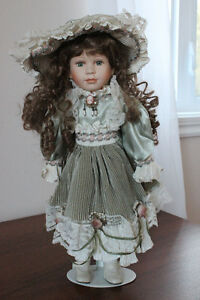 Porcelain Doll with Green Dress