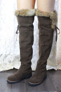 Womens Winter Lace-up Thigh High Boots By BIGTREE Brown Size 7 U