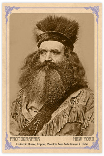 MOUNTAIN MAN SETH KINMAN 1864 California Vintage Photograph Cabinet Card CDV