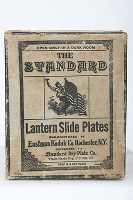 Antique Standard Glass Lantern Slide Dry Plates Box, Kodak Co. film photo camera for sale  Shipping to India