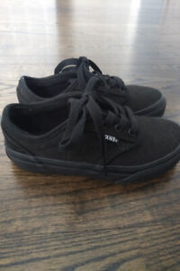 New Youth Boy Girl Vans Atwood Black Lace-Up Shoes 12