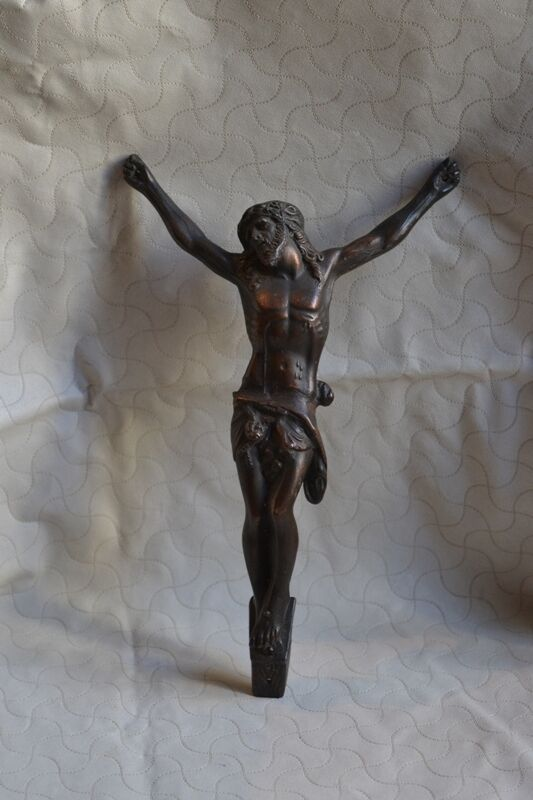 Antique Metal Statue Figure Calvary Jesus