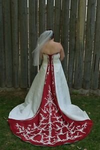 Red and Ivory Alfred Angelo wedding dress