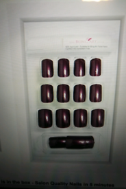 False Nails French Glitter Chocolate 24 Squoval Medium Tips