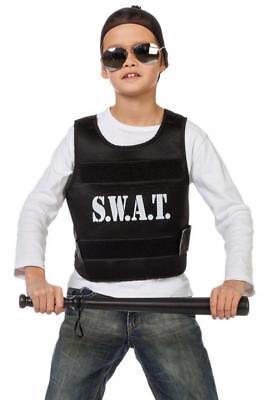 Polizist Polizei SWAT Weste Police FBI CIA Kostüm Uniform Polizeikostüm Cop Helm (Swat Polizei Weste Kostüm)