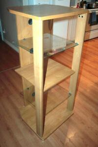 glass and wood stereo stand