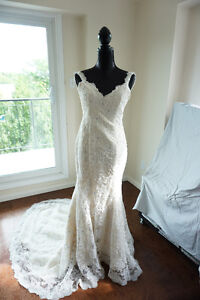 Ivory Lace Pearl & Crystal accentt trumpet fitted wedding dress