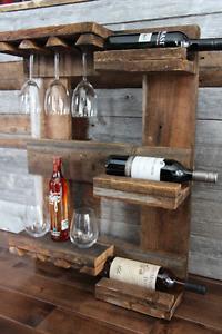 support à vin en véritable bois de grange