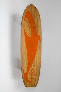 Vintage Red 'Shark' Wooden Skateboard by Nash