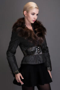 Brand new super quality coat with raccone fur collar, size S